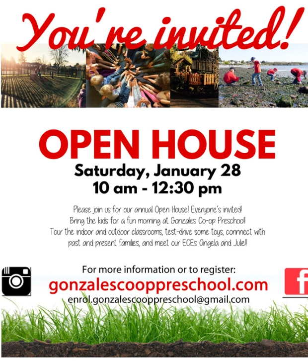 Gonzales Preschool Open House - Saturday, January 28th from 10am to 12:30pm