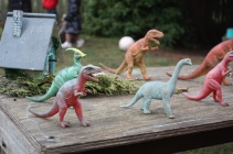Play with dinosaurs in the playground